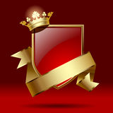 Badge with ribbon and crown Stock Photography