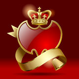 Badge with ribbon and crown. Retro artistic badge in the form of a shields with gold ribbon and crown against a dark red background. Contain the Clipping Path Royalty Free Stock Photography