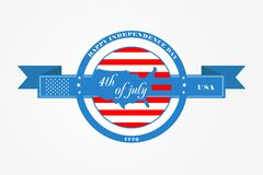 Badge and ribbon for Fourth of July, Independence Day of the United States of America. US flag in the circle and USA map stock photo