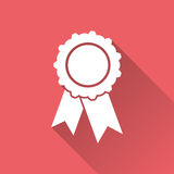 Badge with ribbon icon. Vector illustration in flat style on red background with long shadow Stock Photos