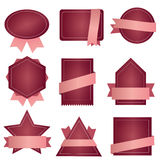 Badge ribbon , Label and Banner Set - bordeau pink Stock Image
