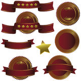 Badge ribbon , Label and Banner Set - bordeau wine gold Stock Photos