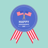 Badge with ribbons Award icon Star and strip flags Royalty Free Stock Photo