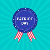 Badge with ribbons Award icon Star and strip Sunburst background Patriot day Flat design Royalty Free Stock Images