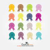 Badge with ribbons icon. Illustration Stock Images