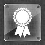 Badge with ribbons icon on a metallic background. Vector illustration Royalty Free Stock Images