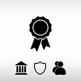 Badge with ribbons icon, vector illustration. Flat design style. Web icon for the site, in a flat style Royalty Free Stock Photos