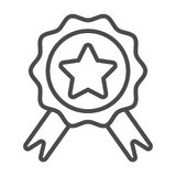 Badge with ribbons line icon, e commerce and award, quality sign vector graphics, a linear pattern on a white background. Eps 8 Stock Photography