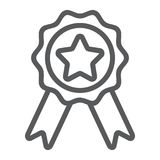 Badge with ribbons line icon, e commerce. And award, quality sign vector graphics, a linear pattern on a white background, eps 10 Royalty Free Stock Images