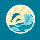 Badge with Sea Wave, Sun and Dolphin Royalty Free Stock Photography