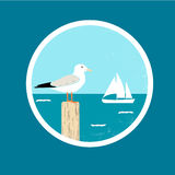 Badge with Seagull and Ship. Vector badge with seagull and silhouette of ship stock illustration