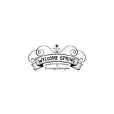 Badge set for small businesses - Spring. The pattern printing plate handmade works written by hand font. It can be used Royalty Free Stock Photography