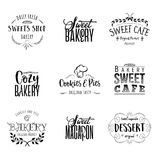 Badge set for small businesses - sweet bakery. The pattern printing plate handmade Royalty Free Stock Photos
