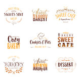 Badge set for small businesses - sweet bakery. The pattern printing plate handmade works written by hand font.  Stock Image