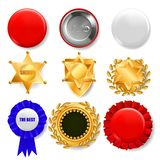 Badge Set Vector. Plastic And Golden Empty Button. Sale Symbol. Best Quality Product Emblem. Hexagonal. Sheriff, Pin. Brooch, Retro, Vintage, Police, Sale royalty free illustration