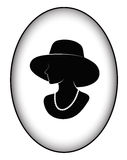 Badge silhouette of the glamorous lady Royalty Free Stock Photos