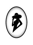 Badge silhouette of the glamorous lady Royalty Free Stock Photography