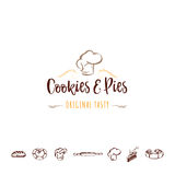 Badge for small businesses - cookies and pies. The pattern printing plate handmade Stock Photo