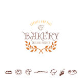 Badge for small businesses - sweet bakery. The pattern printing plate handmade works written by hand font.  Stock Image