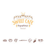 Badge for small businesses - sweet cafe. The pattern printing plate handmade works written by hand font.  Royalty Free Stock Image