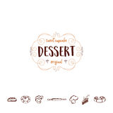 Badge for small businesses - sweet cupcake dessert. The pattern printing plate handmade works written by hand font.  Royalty Free Stock Photography