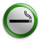 Badge - Smoking allowed. 3d rendering of a badge with a smoking allowed sign Stock Photo