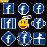 Facebook logo icon. social network facebook. smile social network with online status and pupils facebook. Badge of the social network logo on Facebook online Royalty Free Stock Photography