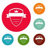 Badge soldier icons circle set vector Royalty Free Stock Image