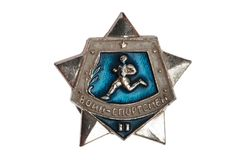 Badge soldier athlete. Badge of Soviet times  soldier athlete Royalty Free Stock Photos