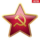 Badge of Soviet Union star. Badge of Soviet Union Red Star. Realistic symbol of the USSR. Vector Illustration isolated on white background Royalty Free Stock Images