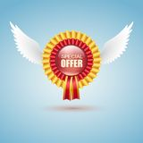 Badge Special offer with white wings Stock Photos
