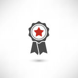 Badge Star Red. Stamp premium quality with ribbons pictogram. Simply award medal badge with star icon. Sertificate ui symbol. First place label user interface Stock Images