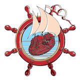 Badge with steering wheel. Vector badge with sail ship and steering wheel, executed in retro print style with colors misregistration effect. Easily edit: file is Royalty Free Stock Image