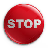 Badge - STOP. 3d rendering of a badge with a STOP sign Stock Image