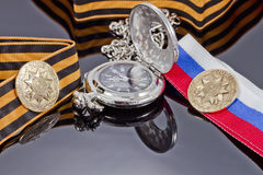 Badge struck at the Saint-Petersburg mint for victory day and po Stock Photo