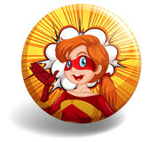 Badge. Of a superwoman character in red and yellow costume Stock Photo