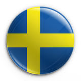 Badge - Swedish flag. 3d rendering of a badge with the Swedish flag Royalty Free Stock Photography