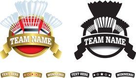 Badge, symbol or icon on white for badminton Royalty Free Stock Image