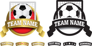 Badge, symbol or icon on white for soccer or football Stock Photography