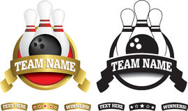 Badge, symbol or icon on white for ten pin bowling Royalty Free Stock Photography