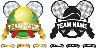 Badge, symbol or icon on white for tennis Royalty Free Stock Images