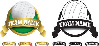 Badge, symbol or icon on white for volleyball Stock Images
