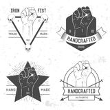 Badge, symbol or logotype with hand. For design elements, business signs, logos, identity, labels, badges and objects in old retro style vector illustration