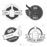 Badge, symbol or logotype with hand. Stock Photo