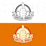 Badge, symbol or logotype with hand. Stock Photos