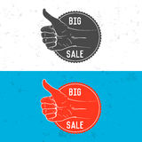 Badge, symbol or logotype with hand. Stock Images