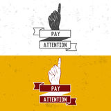 Badge, symbol or logotype with hand. Royalty Free Stock Photos