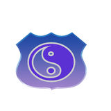 Badge symbol yin yang Stock Images