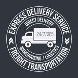 Badge template of fast delivery Cargo truck. Freight Transportation label. Stock Photography