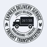 Badge template of fast delivery Cargo truck. Freight Transportation label. Stock Photos